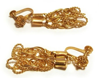 Vintage Gold Earrings Indian Yellow Gold Chain Screw Back Clip On Bright Bling