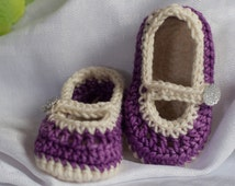 Baby Booties, Baby Mary Janes, Handmade Crochet Fashion Slippers, 3-6mos, Baby Girl Slippers, baby Mary Janes, Photography Prop