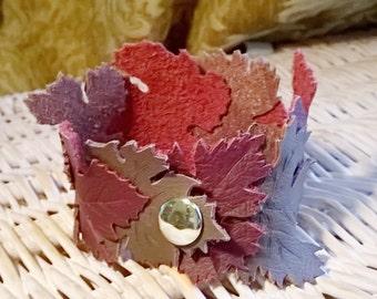 Leather cuff bracelet for women, Leaf cuff bracelet, Grape leaf jewelry, Wine themed jewelry, Vineyard fashion, Grape leaf jewelry