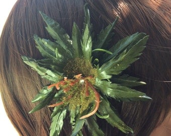 Leather weed hair clip