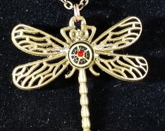 Steampunk Dragonfly Pendant, watch gears and crystal in resin DF02