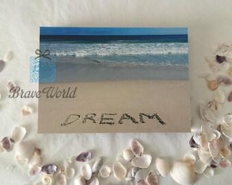 Dream Photo Print Wall Art, Dream Canvas Print, Beach Theme Gift, Dream Word Written on Beach Sand, Beach Photography, Dream Believe Achieve