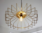 El Montovano - Brass Modern Chandelier Pendant Light in Polished Brass using Edison LED Filament Bulb