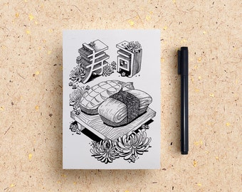 Print Art/Sushi/Japanese/Food Illustration/Black and White Print/Pen Illustration/Ink Drawing/Wall Decor/Home Decor/Post Card/Multi Purpose