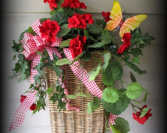 "Wall WIllow Basket-20"" - Red and White Gingham Bow- Geraniums, Greenery Bow and Butterfly-SO PRETTY"