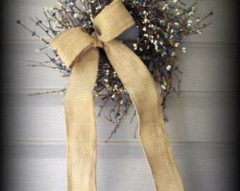 """Blue and Cream Pip Berry Wreath - 18"""" - Burlap Bow - New"""