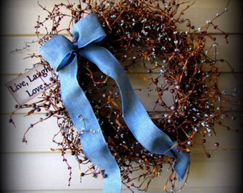 "Blue, Gray, Burgundy,Mixed Pip Berry Wreath - 24"" - Blue Ribbon-Tag-New"