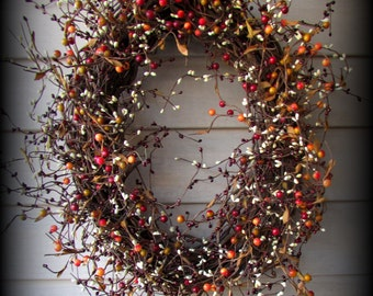 Oval Red, Orange, Cream and Green Pip Berry Wreath -Valentine's Day