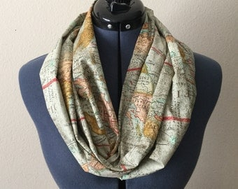 Map Infinity Scarf / Expedition / World Map / Infinity Scarf / Traveler / Scarf / Map / Travel / Vacation / Road Trip / World Travel / Gift