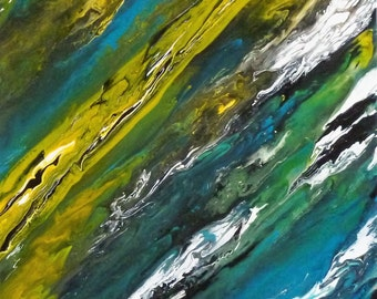 "Abstract painting - Abstract painting/French art / ""over time"" - cotton canvas 30 X 40 cms blue-green-white-yellow color."
