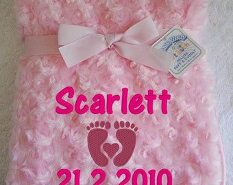 Personalised Pink Rose Fur Infant Baby Blanket/Wrap