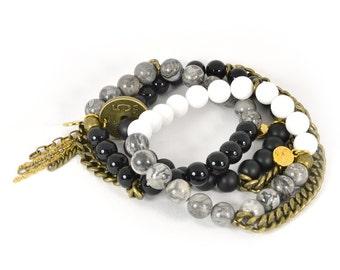 black beaded bracelet, gray beaded bracelet, white beaded bracelet, gemstone bracelet stack, chain bracelets, stacking bracelets, monochrome