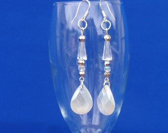 Bridal Crystal Long Earrings, Wedding Sparkly Earrings, Drop Sparkly Earrings, Dangly Beaded Earrings, Silver Dangly Wire Earrings