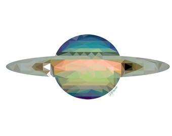 Saturn Outer Space Geometric Kids Room Personalized Wall Art Decor Print Poster