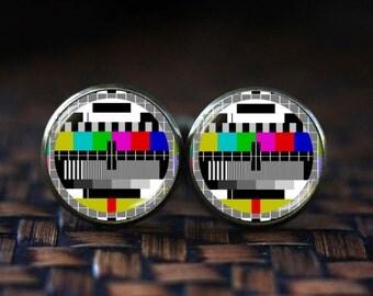 TV Test Signal Cufflinks, TV Test Pattern Cufflinks, Screen Test Cuff Links, Geekery Cufflinks, Television Cufflinks, TV Cufflinks
