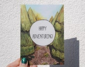Happy adventuring! Travel greeting card, going away card
