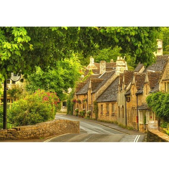 Cotswolds England Street Scene Quaint Village