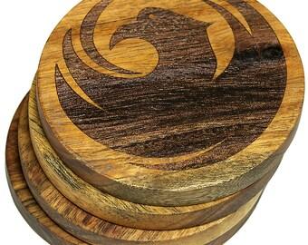 City Seal of Phoenix, Arizona Coasters - Set of 4 Engraved Acacia Wood Coasters
