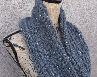 Grey Lace Weight Yarn Sequined Knit Cowl