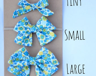 Blue floral fabric bow