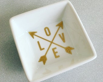 Ring Dish- Ring Holder- Jewelry Dish- Arrow Love