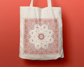 Tote Bag Bandana, coton bag, canvas bag, beach bag, pattern