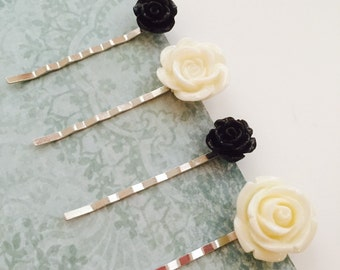 Sweet rose bobby pins, black, creamy white, set of 4, gifts for her, bridal shower favors, sweet sixteen gift, anniversary gift