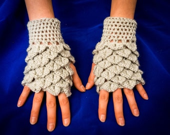 Crocodile stitch gloves mitten wool