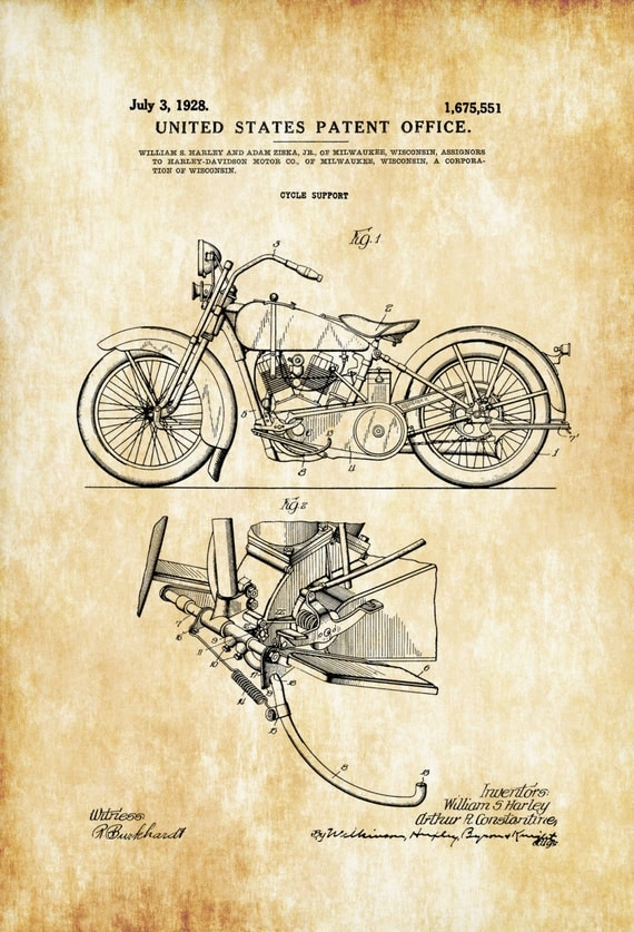 Harley Davidson Wall Decor harley davidson patent patent print wall decor motorcycle