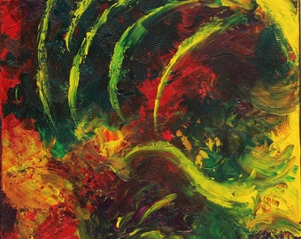 """Abstract acrylic on canvas painting. """"Hold"""", contemporary painting, red, yellow, green. textured painting, wall art, home decor"""