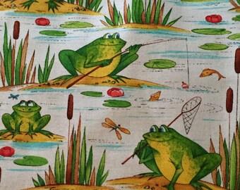 "Blank Fabric, ""FISHING FROGS"""