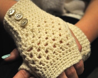 Beige Fingerless Gloves With Pearly White Buttons