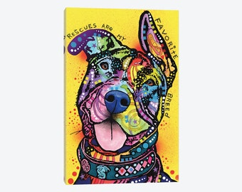 Rescues Are My Favorite Breed Pit Bull Gallery Style Canvas Print Dog Pet Lover Wall Decor Colorful Beautiful Ready to Hang Pop Art Artwork