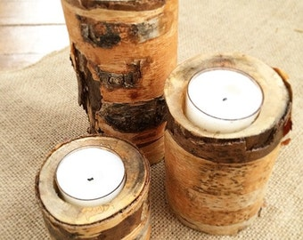 Birch Tree Candle Holders - 3 Piece Set
