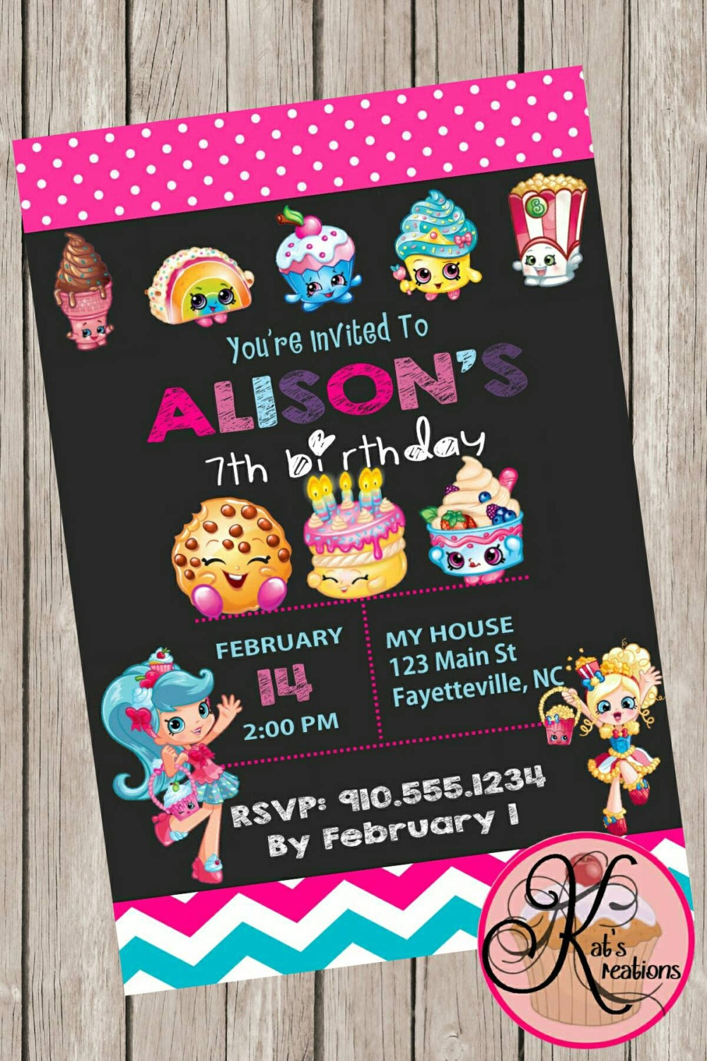 It is an image of Sizzling Shopkins Printable Invitations
