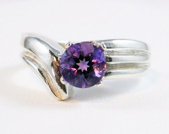 Amethyst Ring, 925 Sterling Silver, Amethyst Solitaire Ring, February Birthstone Ring, Purple Amethyst Ring, 925 Solitaire Ring