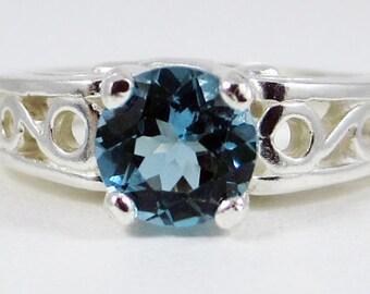 London Blue Topaz Swirled Ring Sterling Silver 925, December Birthstone Ring, Blue Topaz Filigree Ring, London Blue Topaz Filigree Ring
