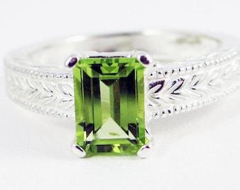 Peridot Emerald Cut Ring Sterling Silver, August Birthstone Ring, Peridot Filigree Ring, Engraved Peridot Ring, Emerald Cut Peridot Ring