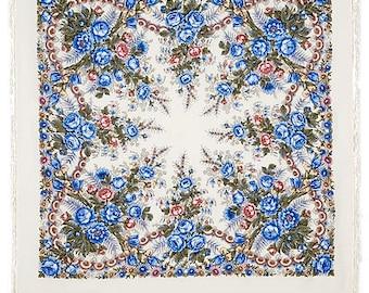 "Scarf woolen with a silk fringe ""Spring morning"" 125x125 cm 49''x49'' / Wool floral pavlovo posad shawl"