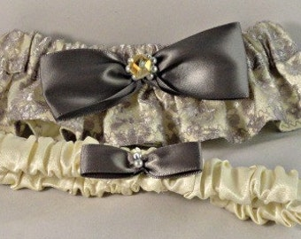 Yellow & Gray Wedding Garter