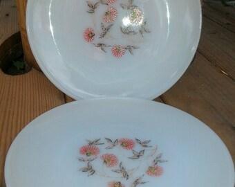 Fireking Fleurette Dinner Plates Vintage Milkglass Ovenware