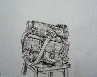Bag On Stool - Heavyweight Pencil Drawing - A3
