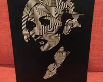 Custom Carved Artwork of Gwen Stefani