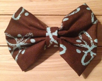 Brown and Blue Floral Hair Bow