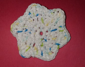 Crochet Mostly White Face Scrubber, Scrubby, Scrubbie, with Back Loop