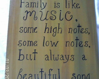 Family is like music  some high notes  some low notes but always a beautiful song    wall decor ,  wall hanging,  rustic , burlap border