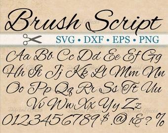 BRUSH SCRIPT Calligraphy Font Monogram Svg, Dxf, Eps, Png;  Digital Monogram DIY, Fancy Script, Cursive Font Svg, Silhouette Files, Cricut