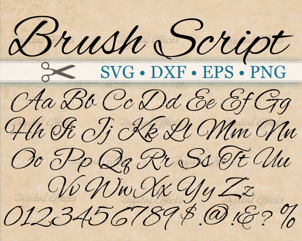 Brush script calligraphy font monogram svg dxf eps png Calligraphy scripts