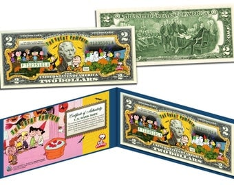 PEANUTS Halloween Themed Colorized Two Dollar Bill Genuine US Currency