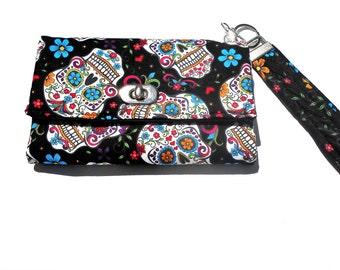 Sugar Skull Wallet, Sugar Skulls wristlet, Dia de los muertos wallet, Calavera wristlet, skull wallet, skull bag, Day of the Dead purse bag